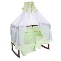 Комплект в кроватку (6 предметов), цвет зелёный 27