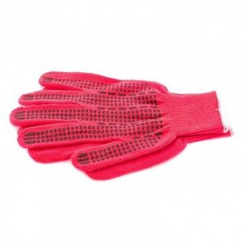 Перчатки трикотажные, акрил, пвх гель, протектор, коралл, оверлок россия с