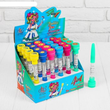 Мыльные пузыри-ручки с печатью и светом смайл, 10 мл, цвета микс