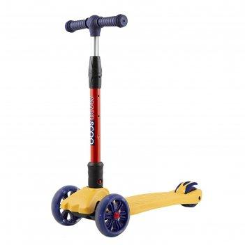 Самокат maxiscoo junior delux со светящимися колёсами, цвет жёлтый
