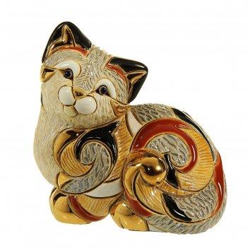 Фигурка лежащая кошка калико