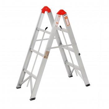 Лестница двухсекционная tundra comfort, 2х3 ступени, алюминиевая, складная
