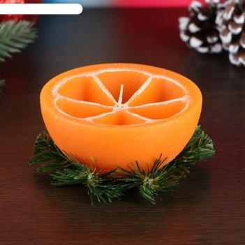 Свеча декоративная новогодний апельсин половинка