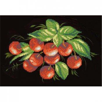 """Рисунок для вышивания бисером """"вишни на черном"""""""
