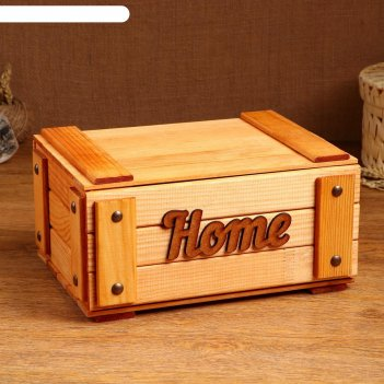 Сундук деревянный home, 28 х 20 х 14 см, микс