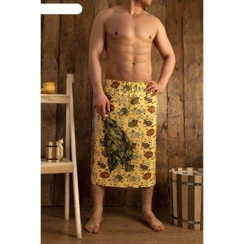 Полотенце для бани collorista с легким паром муж. килт,75х150см,хл., ваф.