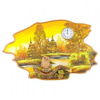 Часы с картиной сова осень 50х32 см