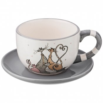 Чашка с блюдцем коллекция счастливое семейство 2 пр. 240 мл 13,5*13,5*7,1