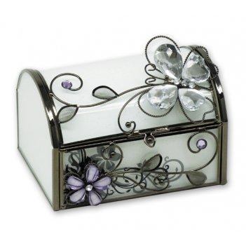Hs-20340i шкатулка стеклянная бабочка  jardin d ete