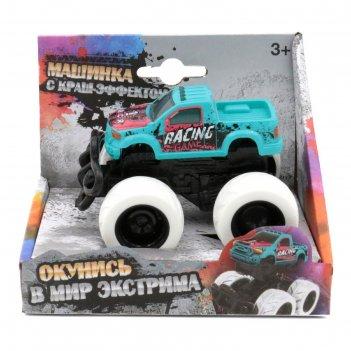Машинка с краш-эффектом funky toys 4х4,пул бэк, цвет голубой