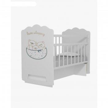Кровать детская love sleeping колесо-качалка с маятником, цвет белый