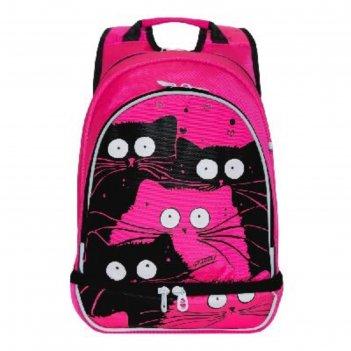 Рюкзак школьный эргоном.спинка grizzly rg-068-1 41*30*19 дев коты, розовый