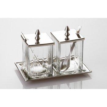 Набор для специй 2 пр.на подставке стекло-латунь высота=18 см
