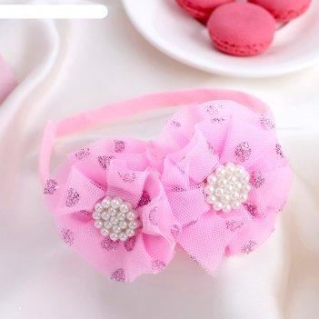 Ободок для волос малышка 1 см двойной бант, блеск, розовый