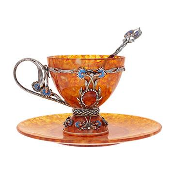 Чайная чашка васильки ювелирная бронза