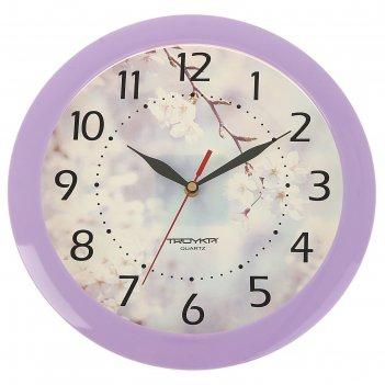 Часы настенные, серия: цветы, цветущее дерево, сиреневый обод, 29х29 см