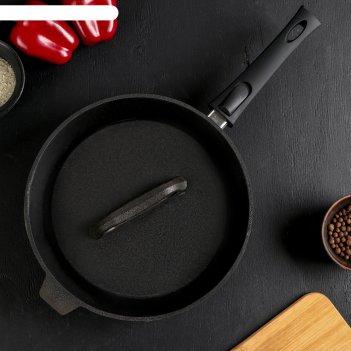 Сковорода гриль литая чугунная 280х60 со съемной ручкой с чугунной  крышко