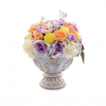 Цветы ваза малая с листями белая н-16,d-13