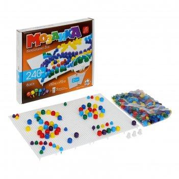 Мозаика круглая, 240 элементов, 6 цветов, 2 платы