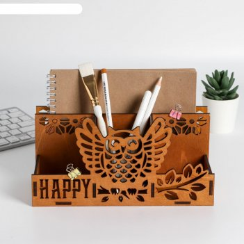 Органайзер карандашница с отсеком под бумаги сова 24 х 12,4 х 11,4 см