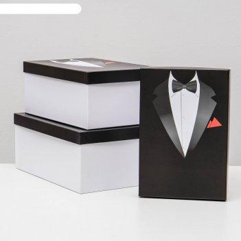 Набор коробок 3 в 1 джентльмен, белый, 30,5 х 20 х 13 - 26 х 17,5 х 11 см