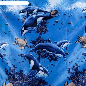 Штора для ванной киты и черепахи, 180*180, полиэстер