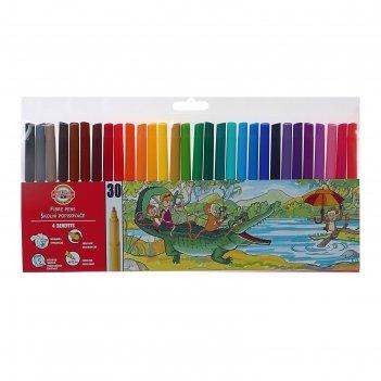 Фломастеры 30 цветов koh-i-noor звери, трёхгранные, пакет, европодвес