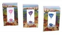 Часы песочные прямоугольная рама лилии, микс песка 11,5*7,5см дерево+стекл