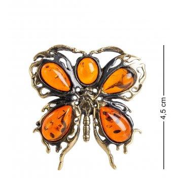 Am- 868 брошь бабочка бархатница (латунь, янтарь)