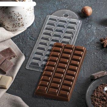 Форма для шоколада шоколад темный (плитка)  7х15х10 см