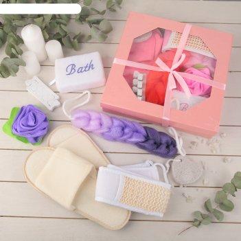 Набор банный, 7 предметов: 4 мочалки, пемза, спонж для педикюра, тапочки