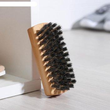 Щетка для обуви 59 пучков, натуральный волос, цвет черный