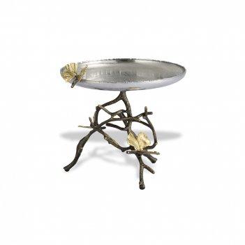 Блюдо для пирожных «бабочки гинкго», диаметр: 18 см, материал: латунь, нер