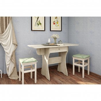 Стол кухонный раскладной с ящиком, 600(1200)х570х750, дуб сонома