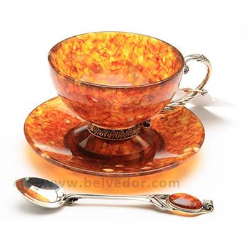 Чайный набор из янтаря ( бронза )