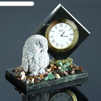 Часы сова, змеевик, мрамолит