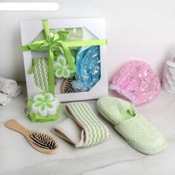 Набор банный подарочный, 5 предм. (2 мочалки, расческа, тапочки, шапочка д