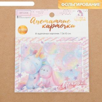 Набор ацетатных карточек для скрапбукинга «в стране единорогов», 10 x 11 с