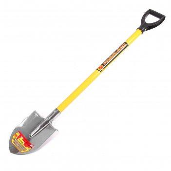 Лопата штыковая, острая, нержавеющая сталь, металлический черенок, с ручко