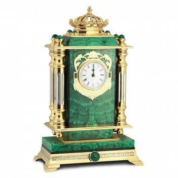 Каминные часы корона малахит позолота арт.3160