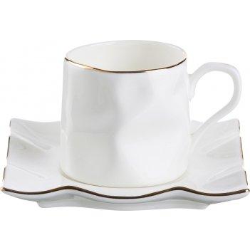 Кофейный набор на 1 персону 2 пр. белый с золотой каймой 150 мл.