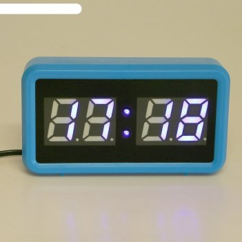 Часы-будильник электронные, синие цифры, голубой корпус, 18х10 см