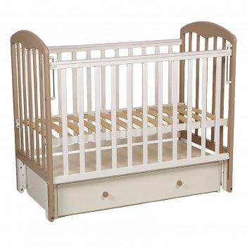 Кроватка детская polini kids simple 328, цвет белый-макиато