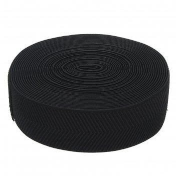 Резинка, ширина 50мм, 10м, цвет черный плетение