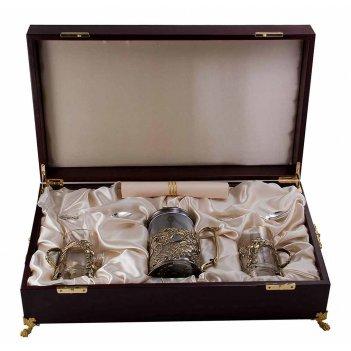 Набор для чая с френч-прессом шиповник (5 пр.) латунь