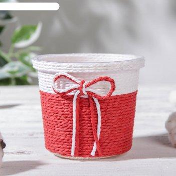 Кашпо плетеное «бантик» 10,5x10,5x9 см, круг, цвет микс