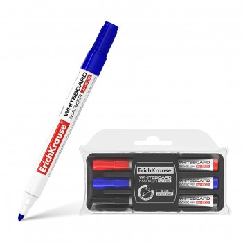 Набор маркеров для доски 3 цвета 0.8-2.2 мм erich krause w-500, + губка, д