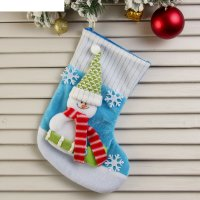 Носок для подарка снеговик со снежинками (бело-голубой)