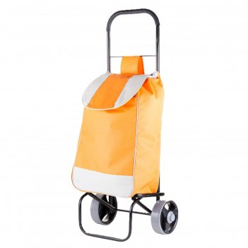 Сумка-тележка хозяйственная, полоса, оранжевая, нагрузка до 40 кг