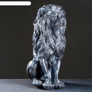 Копилка лев серебро 50х25х40см
